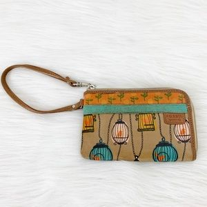 Fossil Key Per Wristlet Bird Cage Coated Canvas